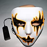 TAOtTAO Halloween Party Sound Reactive LED Mask Dance Rave Light Up Adjustable Mask Rave (Yellow)