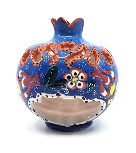 """Handmade Traditional Turkish Pottery Pomegranate Shaped Candle or Incense Burner (Light Blue, Small 4"""")"""