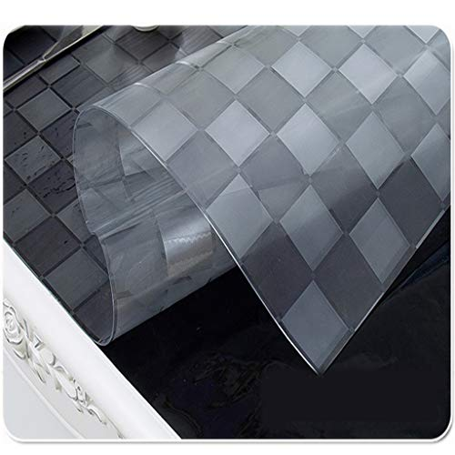 mm Premium Crystal Check Polyvinyl Chloride Tablecloth Protective Cover PVC Wood Furniture Protector Cover Rectangular Transparent Check (Color : Clear, Size : 85×135cm) ()