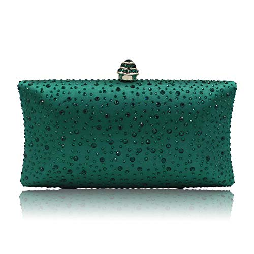 Women Beaded Clutch Bag Rhinestone Crystal Purse Glitter Evening Handbag for Wedding Cocktail Prom Party (Green)