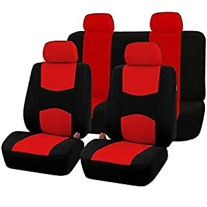 Car Seat Covers Full Set Sporty Red/Black Washable Airbag Compatible