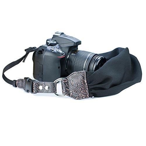 Camera Shoulder Neck Strap, Sugelary Vintage Fabric Satin Scarf Camera Strap for All DSLR Camera Nikon Canon Sony Pentax (Black)