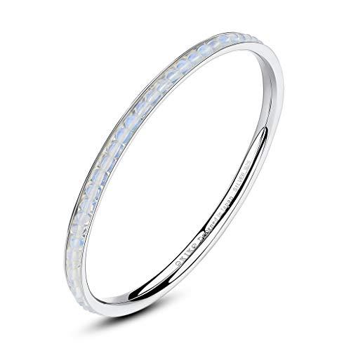 OKIKO Birthstone Jewelry Stackable Sleek Bangle Bracelet Silver Natural Gemstone Gift for Her
