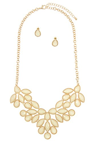 Karmas Canvas Faceted Marquise Shaped Stone Bib Necklace Set (Marquise Shaped Stones)