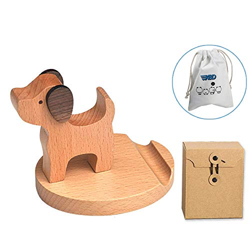 (Cute Cell Phone Stand, MHKBD Wooden Phone Stand Cell Phone Holder for iPhone X, iPhone 8 6S, Samsung Mobile Phone, Apple iPhone iPad, Great for Personal Use or As a Gift (Puppy))