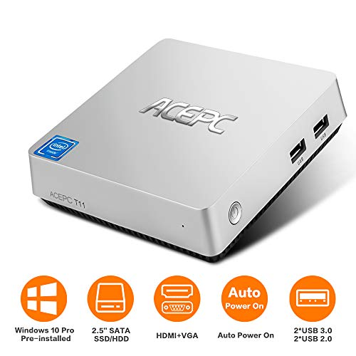 ACEPC T11 Mini PC,Windows 10 Pro Intel Atom x5-Z8350 Fanless Desktop Computer,4GB DDR3/32GB eMMC, Support 2.5-Inch SATA III Internal SSD/HDD,4K HD,2.4/5G WiFi,1000M LAN,HDMI/VGA Output,Auto Power On