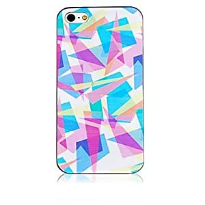 JAJAY- Color Stitching Pattern Black Frame Back Case for iPhone 4/4S