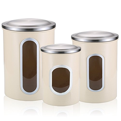 FC Airtight Window Kitchen Canister Sets, Stainless Steel Food Canister with Fingerprint Resistance Lid, Cereal Container Set of 3 (Warm Apricot)