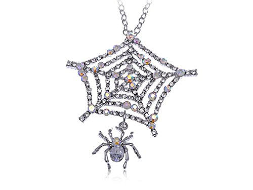 Glucky : Charlotte's Spider Web Iced Out Crystal Clear Rhinestone Custom Pendant Necklace (Spiderweb Rhinestone Necklace)