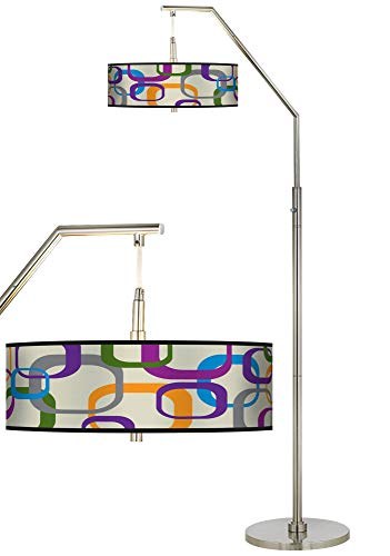 Retro Squares Scramble Giclee Shade Arc Floor Lamp - Giclee Glow