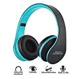 Foldable wireless Headphones, Ashipher Wireless/Wired Over-ear Headset Rechargeable Earphones with Built-in Microphone 3.5mm Audio Jack MIC for iPhone X/8/7/6 & Desktop, PC (blue)