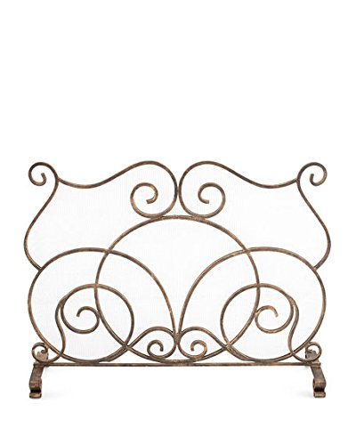 Curved Scroll Bronze Firescreen Fireplace