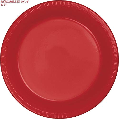 Red 6'' Plastic Party Plates Disposable Dinner Wedding Plastic Dishes 20 Tksnow from Tksnow