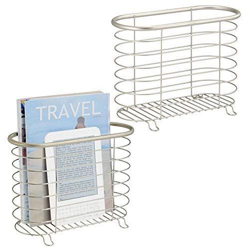- mDesign Decorative Metal Farmhouse Magazine Holder and Organizer Bin - Standing Rack for Magazines, Books, Newspapers, Tablets in Bathroom, Family Room, Office, Den - 2 Pack - Satin