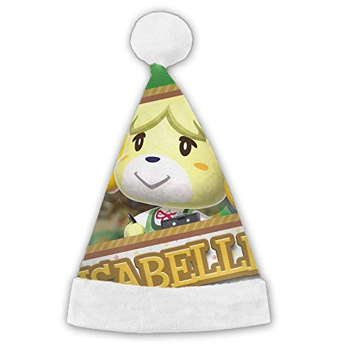 Isabelle Animal Crossing Santa Claus Cap Xmas Hat with Plush White Cuffs ()