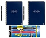 Rocketbook Everlast Reusable Smart Notebook, Executive Size, Dark Blue (Pack of 2) with 5 Pilot FriXion Pens