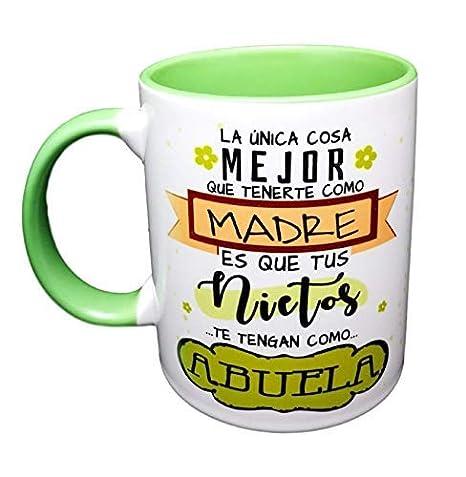 Taza Color Frase La Unica Cosa Mejor Que tenerte como Madre es Que Tus Nietos te tengan como Abuela Regalo para Abuela. Regalo Dia DE LA Madre: Amazon.es: ...