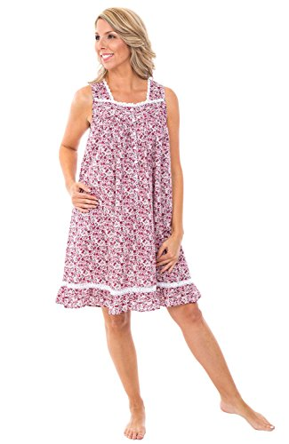 Alexander Del Rossa Womens 100% Cotton Lawn Nightgown, Sleeveless Button Up Ruffled Sleep Dress, Large Floral Bloom ()