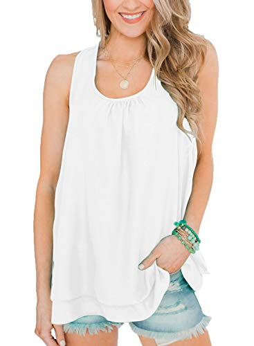Blouse Lined Sleeveless - Topstype Womens Chiffon Layered Cami Tank Tops Sleeveless Crew Neck Loose Fit Casual Blouses White