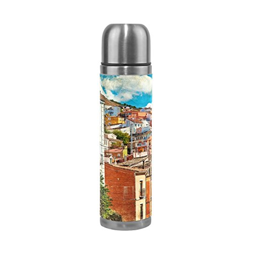My Daily Colorful Spain Streets And Buildings Painting Vacuum Insulated Double Walled Stainless Steel Water Bottle Leak Proof Thermos Flask 17 oz by ALAZA