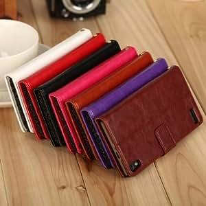 Slide Flip Leather Holder Card Wallet Case For Huawei Ascend P6 --- Color:Rose Red