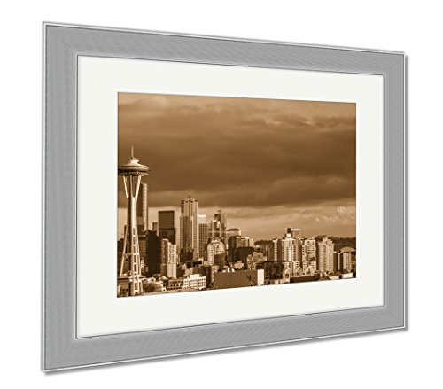 Ashley Framed Prints Skyline Of Seattle Downtown In Sunset, Wall Art Home Decoration, Sepia, 34x40 (frame size), Silver Frame, AG6540724 (Reflections Seattle Skyline Sunset)