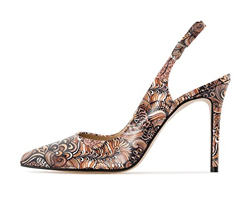 Sammitop Women's Slingback Pumps Floral Print High Heel Pointed Toe Shoes Multi Brown US8