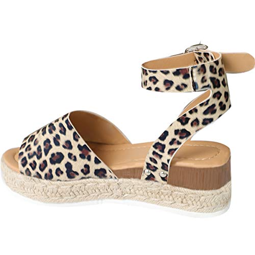 - Gnpolo Womens Leopard Wedge Platform Sandals with Ankle Strap Open Toe Flatform Strappy Summer Shoes