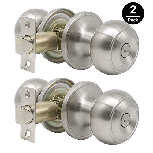 Satin Nickel Finished Door - Gobrico Flat Ball Privacy Door Knobs no Key,Bed/Bathroom Door Locksets, Satin Nickel Finished--Pack of 2