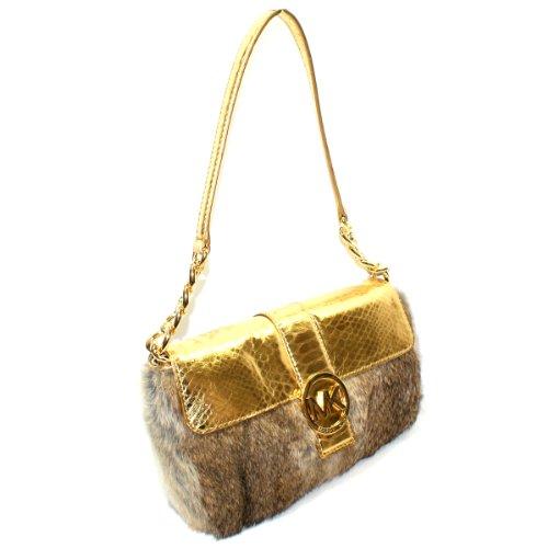 Michael Kors Fulton Small Flap Genuine Fur Shoulder Bag Natural/ (Gold) #30H2MFTF2F