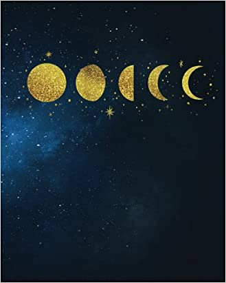 gold moon phase galaxy journal notebook with quote 4 squares per