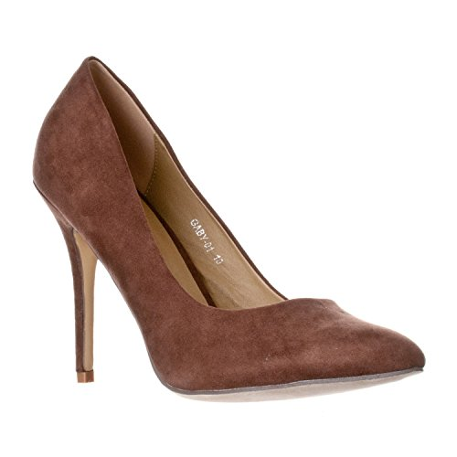 Riverberry Women's Gaby Pointed Closed Toe Stiletto Pump Heels, Brown Suede, 10 (Heel Brown Suede Pumps High)
