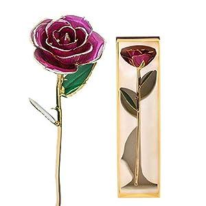 24K Gold Rose, Long Stem Dipped Flower Gift for Her, Made of Fresh Rose, Last Forever Mother's/Thanksgiving/Christmas/Valentine's/Birthdays Party/Graduations/Weddings (#2) 1