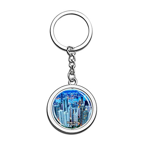 Hong Kong Victoria Peak China Keychain 3D Crystal Spinning Round Stainless Steel Keychains Travel City Souvenir Key Chain Ring]()