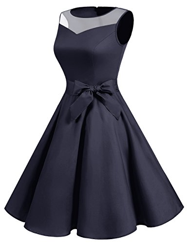 Cocktail See Rockabilly Classic Navy DRESSTELLS Illusion Dress Retro Dress Through Women AHUq8