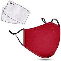 Katoenen Face Cover met 2x Carbon Air Filters, wasbaar & Herbruikbare Face Mouth Protector met verstelbare bandjes (rood…