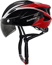 EASTINEAR Adults Bike Helmet with Magnetic Visor Bicycle Helmet with Rear Light Cycling Helmets with Goggles f