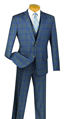 Venci Vinci 2 Button Single Breasted Glen Plaid Slim Fit Suit W/Vest SV2W-4-Gray-48R