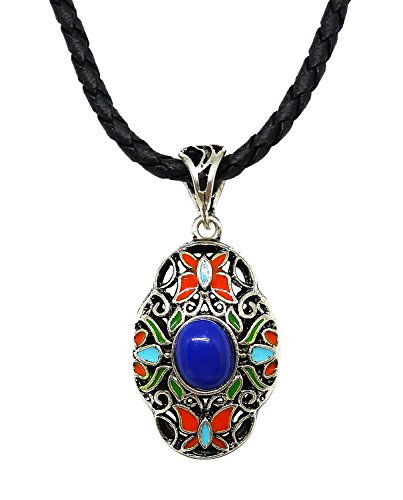 Bijoux De Ja Pewter Blue Stone Enamel Filigree Pendant Leather Necklace 18 - Official Tiffany Outlet