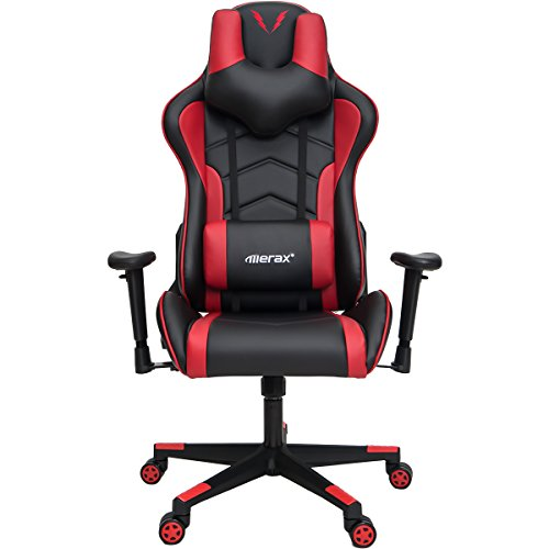 Merax U-Knight Series Racing Style Gaming Chair Ergonomic High Back PU Leather (Red)