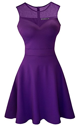 Quince Anos Sash - Sylvestidoso Women's A-Line Sleeveless Pleated Little Purple Cocktail Party Dress (M, Purple)