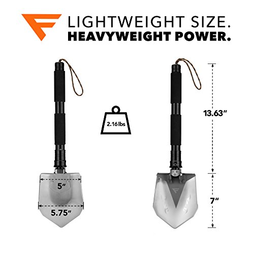FiveJoy Military Folding Shovel Multitool RS – Compact Multi-Purpose Tool to Keep in Vehicle for Emergency or Take with You for Camping – Essential for Camper, RV Owner, Survivalist and Prepper