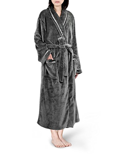 Premium Women Fleece Robe with Satin Trim | Luxurious Super Soft Plush Bathrobe