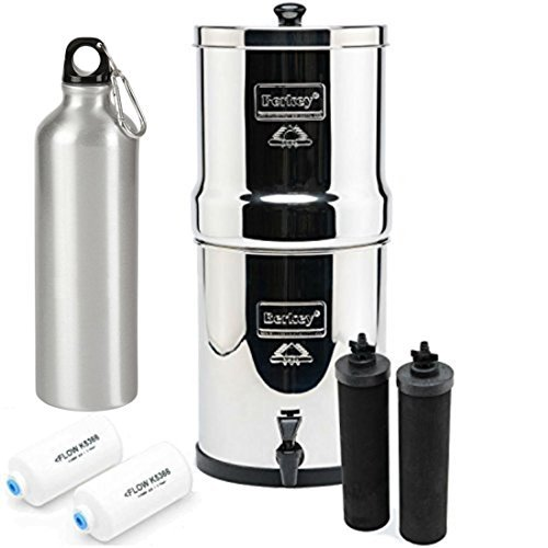 Big Berkey Water Filter System 2.25 Gallon with 2 Black Berkey Purifiers and 2 Fluoride Filters and Aluminum Sports Bottle 25 Ounce