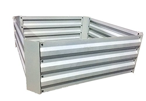 "Steel Raised Garden Bed Kit (34"" Square, 12"" Deep, White)"