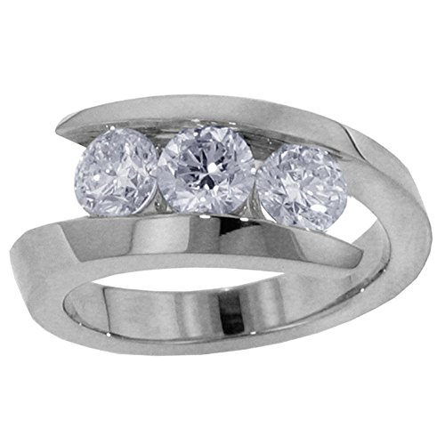 1.00 CT TW 3-Stone Channel Set Anniversary Wedding Ring in 14k White Gold - Size 7.5 by VIP Jewelry Art