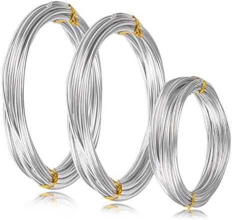 WOWOSS 3 Rollen Aluminium Schmuckdraht Basteldraht Aluminiumdraht,Aludraht Basteln mit Durchmesser 1mm, 2mm und 3mm,jeder 5 Meter(glänzendes Silber)