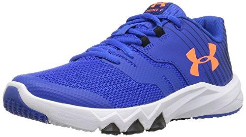 Under Armour Boys' Pre School Primed 2, Ultra Blue/White/Magma Orange, 1 M US Little (1 Kids Orange White Sneakers)