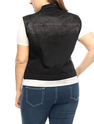Allegra 3X Denim Vest Plus K Pockets Women's Single Breasted Black Chest Size HvHqrwS