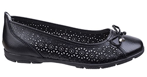 amp; Foster Womens Fleet Size 4 Lagune UK Leather Flats Black Black 7UOnWFZ